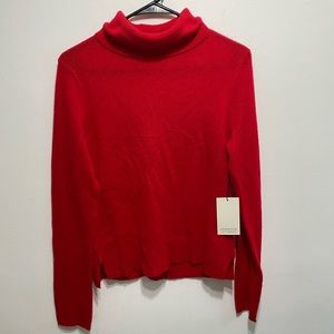 Adrienne Vittadini Red Cashmere Sweater Turtleneck